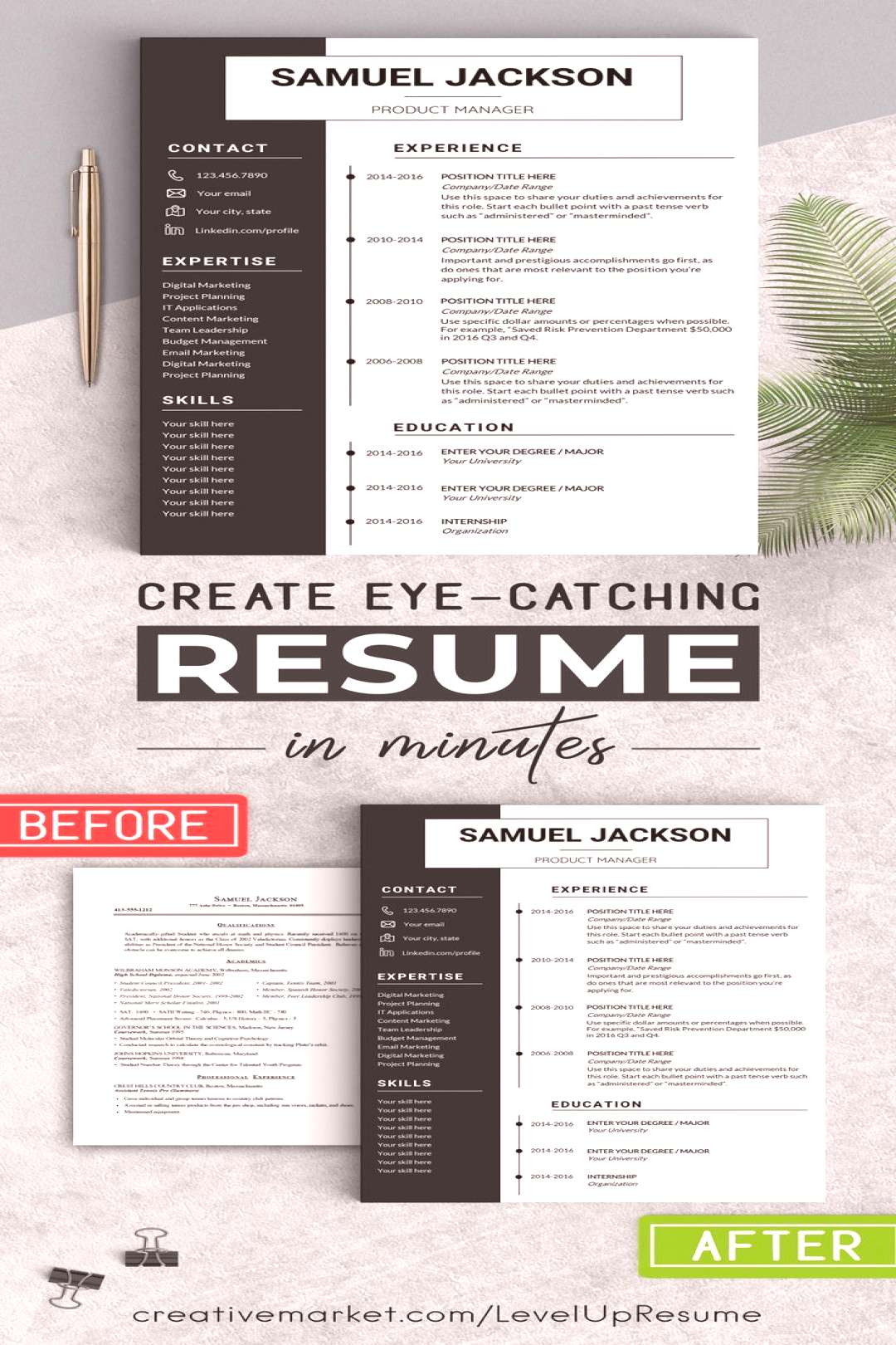 ⭐️ Resume Template + Cover Letter + References (021 Samuel Jackson) ⭐️ ••• Let me hel