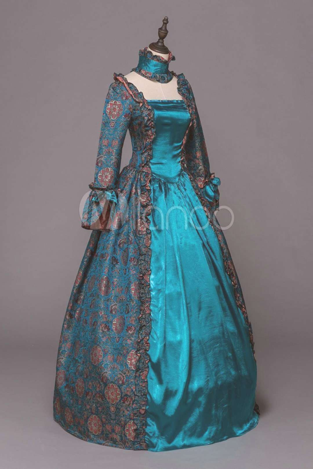 Retro Costume Victorian Dress Baroque Masquerade Ball Gowns Blue Floral Long Sleeve Vintage Costu