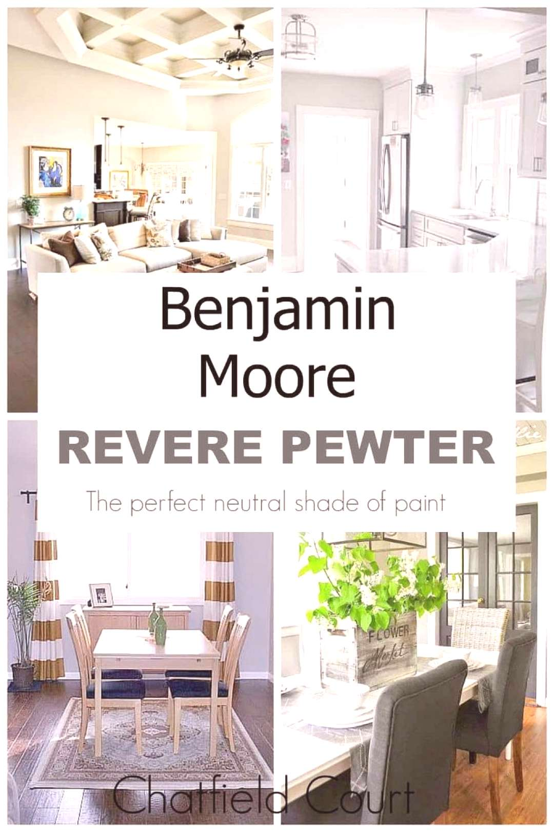 15 beautiful rooms painted with Benjamin Moore Revere Pewter. It's the perfect neutral shade of gra