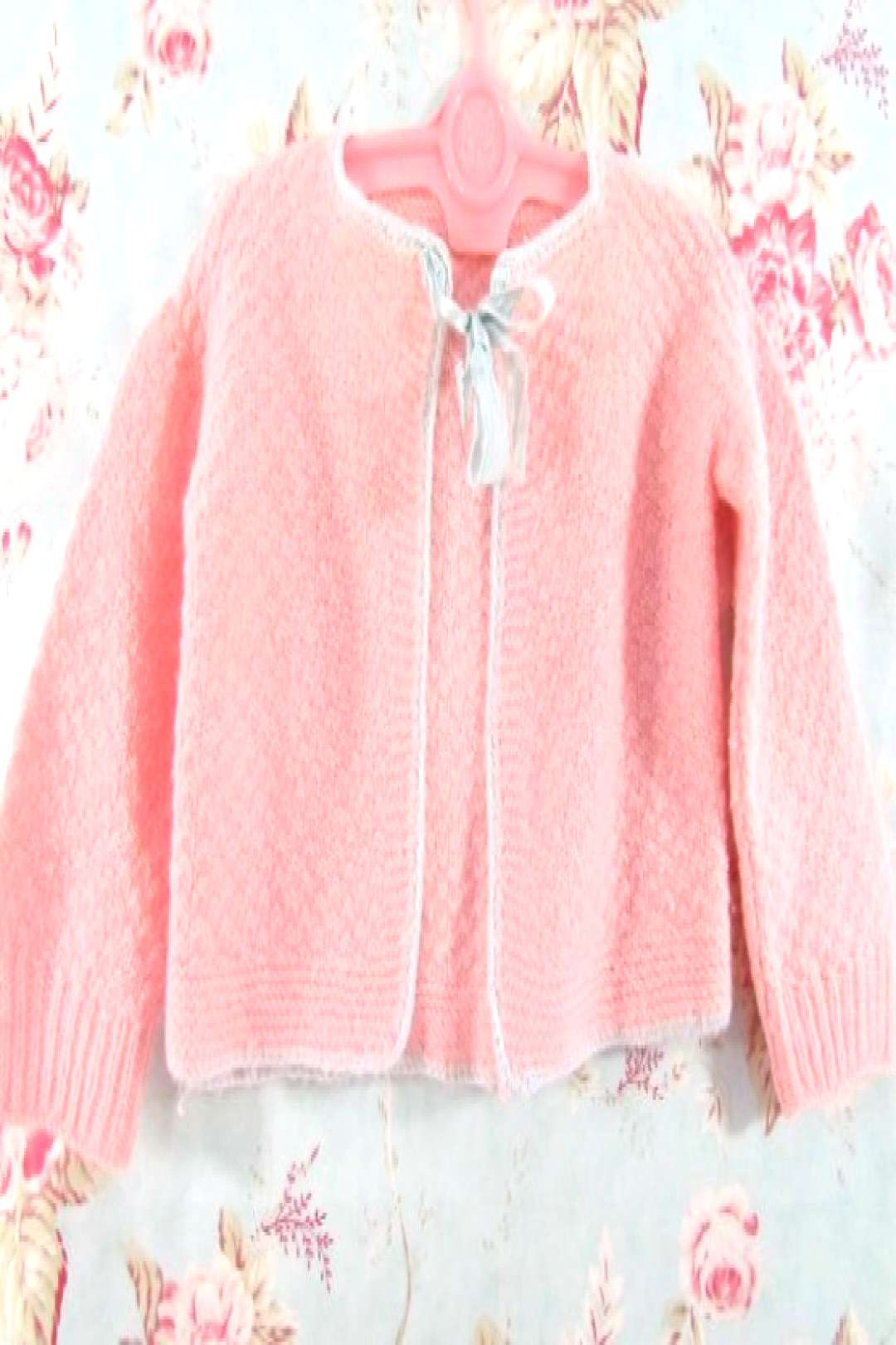 1940's Baby Sweater Knitted By Hand Pink by VintagePolkaDotcom#VintagePolkaDotcom