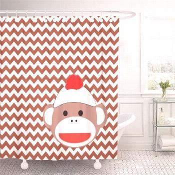 70S Sock Monkey Retro 1970S Products Bathroom Decor Bath Shower Curtain