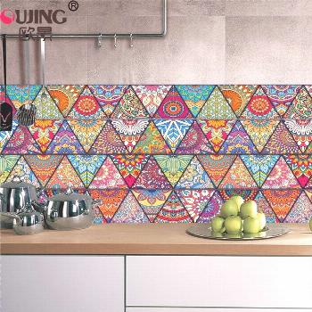 10/15/20cm Colorful Triangles Flowers Pattern Retro Tiles Wall Sticker Kitchen Bathroom Tile Waist
