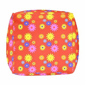 1970s Retro Summer Flowers Colorful Print on Red Pouf