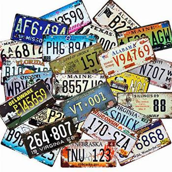 1st warehouse Retro Vintage Assorted US States Number Tags,