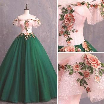 25 + › Vintage / Retro Dark Green Prom Dresses 2019 Ball Gown Appliques Lace Off-The-Shoulder Sho
