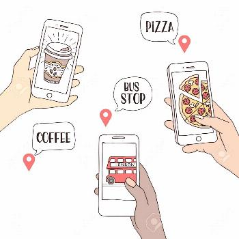 A group of people using their smartphones to find restaurants and public transport, hand drawn illu