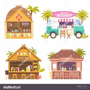 Beach juice bars with smoothies, soft drinks and refreshing beverages. Beach restaurants and food t