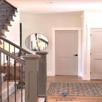 BM Revere Pewter Door/ Edgecomb Gray lightened 50 % walls/SW Urbane Bronze staircase rails and post