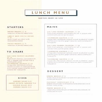 Customizable Restaurant Menu Templates - Easil - Easil Editable Lunch Menu Template - DIY in Easil