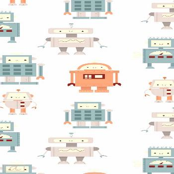 Cute retro vintage robots textile design for boy's nursery room#boys