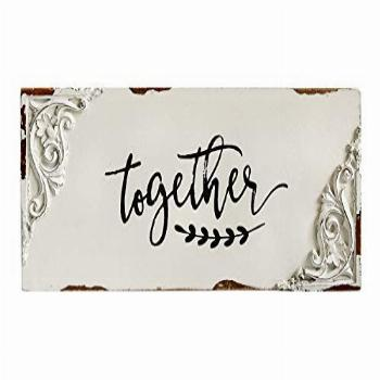 DeliDecor Together Sign Rustic Carved Shabby Style Wood Wall