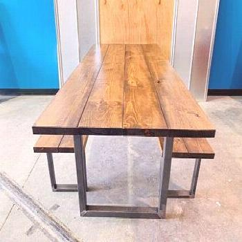 Dinning Table, Benches, Industrial Chic, Reclaimed Wood Steel, Coffee Shop, Restaurants#benches