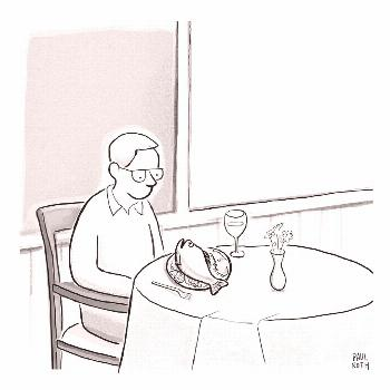 Drawing - A Man At A Restaurants Looks At The Fish by Paul Noth ,
