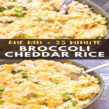Easy Broccoli Cheddar Rice This creamy One Pan Broccoli Cheddar Rice is ready in under 30 minutes!
