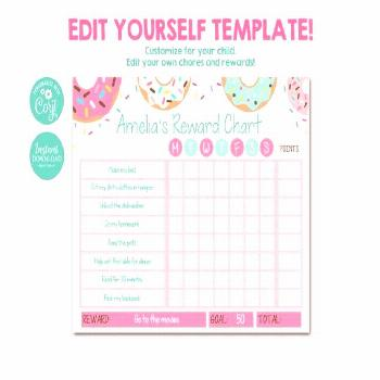 Editable Reward Chart for Kids, Donut Reward Chart, Chore Chart, Printable Reward Chart, Girls, Don