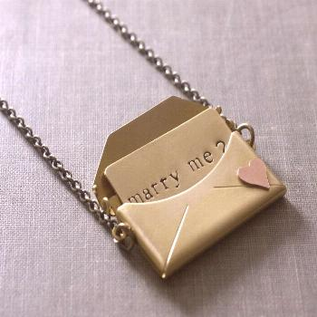 Engagement necklace marry me envelope locket  gift for her love brass copper heart retro Valentines