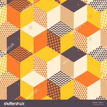 Geometric seamless pattern vector illustration in retro 60s style. Vintage 1970s geometry shapes gr