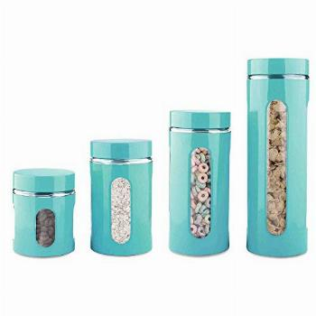 Home Basics 4-Piece Glass Canister Cylinder Set with Clear