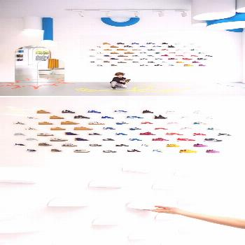 In this modern retail store, magnetic display plates on the walls and movable stands on the floor a