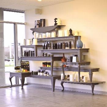 Love these product shelves at Benjamin Beau Salon! | , via @Amie Guidry-Flores