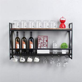 MBQQ Rustic Wall Mounted Wine Racks with 8 Stem Glass