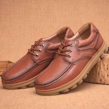 Men Retro Genuine Leather Soft Casual Shoes Men