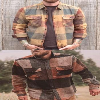 Men's Casual Retro Color Plaid Shirt Jacket -   - -  Men's Casual Retro Color Plaid Shirt Jacket