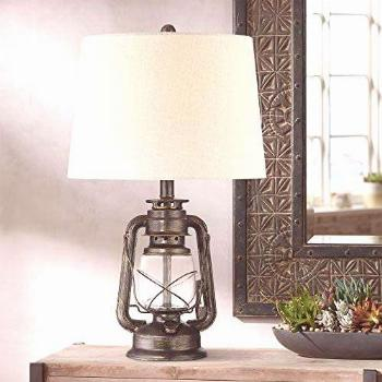 Murphy Industrial Rustic Accent Table Lamp Miner Lantern