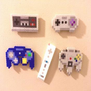 Nintendo Controller Retro Magnets Perler Bead Pins 8 bit Pixel Art – … – Famous Last Words Qu