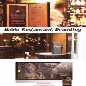 Noble restaurant's brand is spearheaded by hand rendered script that's bold, cr... -  Noble restau