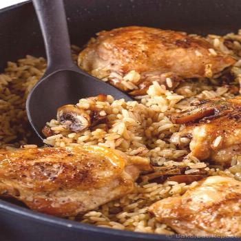 One Pot Mushroom Chicken and Rice Recipe This one pot mushroom chicken and rice recipe is an easy o