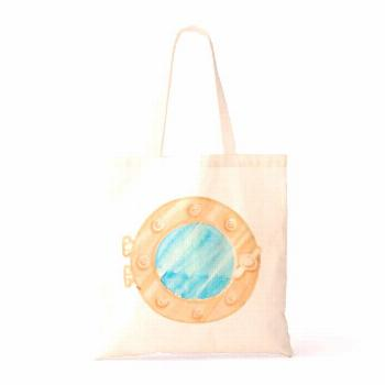 Porthole watercolor painting tote bag