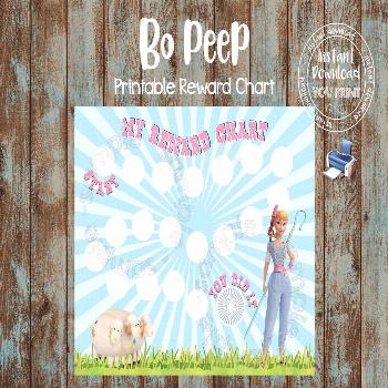 Printable Reward Chart, Bo Peep Reward Chart, Bo Peep Potty Chart, Bo Peep Behavior Chart, DIY Rewa