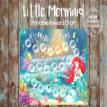 Printable Reward Chart, Princess Ariel Reward Chart, Disney Ariel Potty Chart, Little Mermaid Behav
