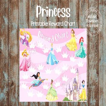 Printable Reward Chart, Princess Reward Chart, Princess Potty Chart, Princess Behavior Chart, DIY R
