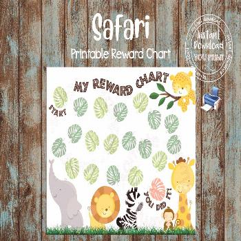 Printable Reward Chart, Safari Reward Chart, Safari Potty Train Chart, Safari Behavior Chart, DIY R