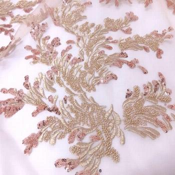 Retro Gold Beaded Embroidery Lace Fabric Rose Gold Sequins Fabric for Wedding Gown, Prom Dress, Lac