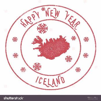 Retro Happy New Year Iceland Stamp. Vector rubber stamp with map of Iceland, Happy New Year text an