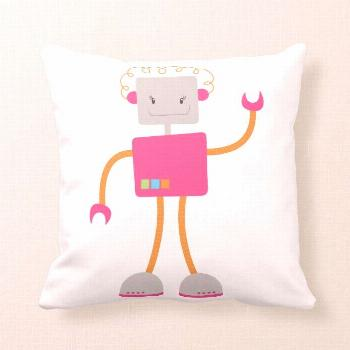 Retro Robot in Pink Throw Pillow