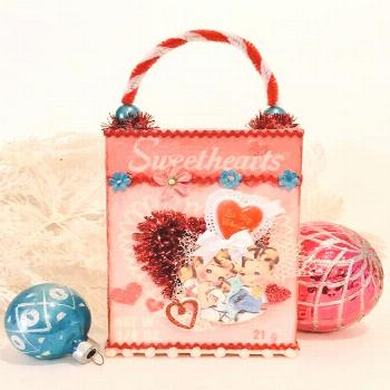 Retro Valentine Shadowbox Decoration ~ Handmade, Sweethearts Candy Box, Valentines Day Love, ... Re