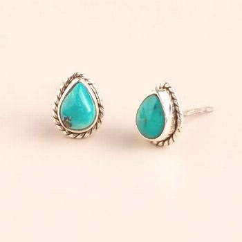 Retro Water Drop Blue Stone Stud Earring Boho Jewelry Antique Sliver Stud Earring Lady Accessories