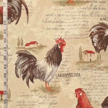 Rooster fabric retro European country chickens document print from Brick House F... -  Rooster fabr