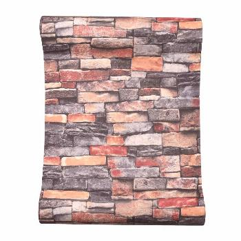Rustic Gray Stone Red Brick Wallpaper 3D Design Retro Vintage Wall Covering For Living Room Bedroom