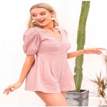 SOLID PINK RETRO BUTTON ROMPERS We are offering the most comfortable chic boho clothes & accessorie