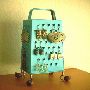 Unique Earring Stand,  Fun Surrealistic Style Retro Industrial Object,Turquoise , Re Purposed Chees