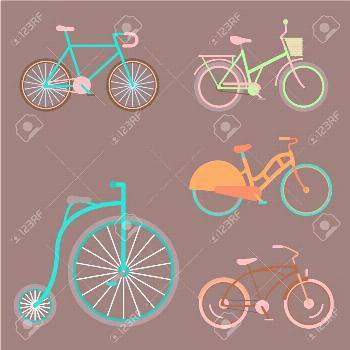 Vector bicycles vintage style design old bike design transport illustration. Retro ride art drawing