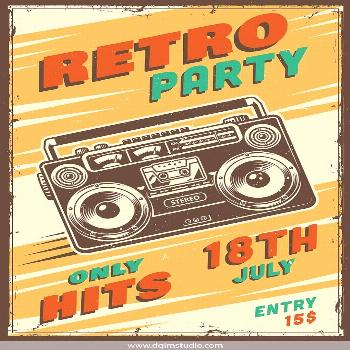 Vintage music retro party advertising poster with boombox. Click to the link to find more rock&roll