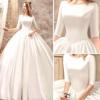 Vintage / Retro Ivory Satin Wedding Dresses 2019 Ball Gown Scoop Neck 1/2 Sleeves Backless Cathedra