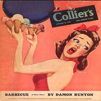 Vintage Woman With Ice Cream Cones ~ Collier's magazine cover, 1941.