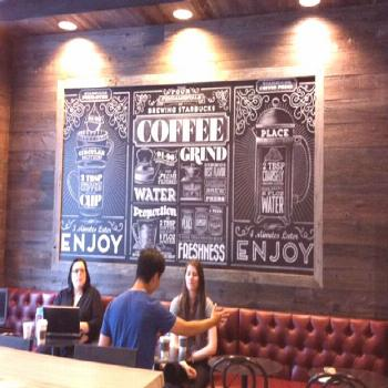 Vintage-style typography mural for Starbucks which adds a very rustic but yet a home away from home